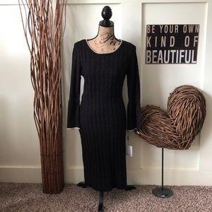 Calvin Klein black and gold sweater dress